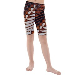 Traditional Batik Sarong Kids  Mid Length Swim Shorts