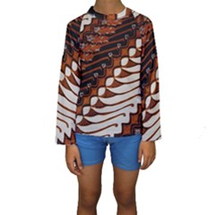 Traditional Batik Sarong Kids  Long Sleeve Swimwear