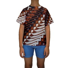 Traditional Batik Sarong Kids  Short Sleeve Swimwear