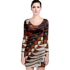 Traditional Batik Sarong Long Sleeve Bodycon Dress