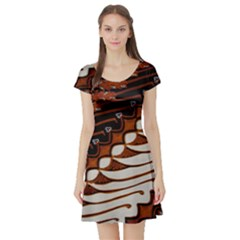 Traditional Batik Sarong Short Sleeve Skater Dress