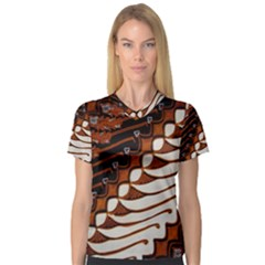 Traditional Batik Sarong Women s V-Neck Sport Mesh Tee