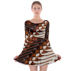 Traditional Batik Sarong Long Sleeve Skater Dress