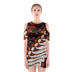 Traditional Batik Sarong Shoulder Cutout One Piece