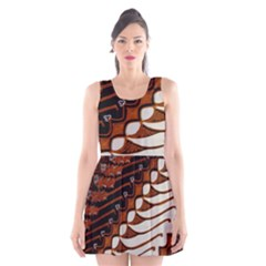 Traditional Batik Sarong Scoop Neck Skater Dress