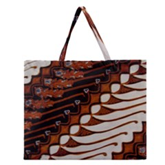 Traditional Batik Sarong Zipper Large Tote Bag