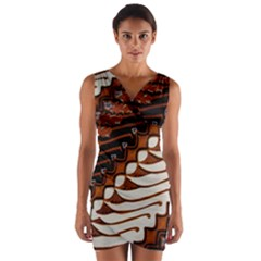 Traditional Batik Sarong Wrap Front Bodycon Dress