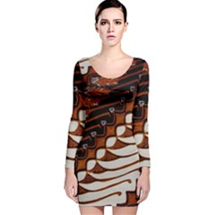 Traditional Batik Sarong Long Sleeve Velvet Bodycon Dress