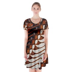 Traditional Batik Sarong Short Sleeve V-neck Flare Dress
