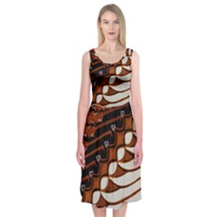 Traditional Batik Sarong Midi Sleeveless Dress
