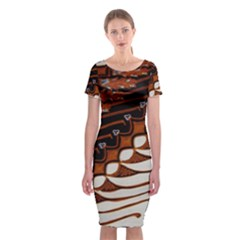 Traditional Batik Sarong Classic Short Sleeve Midi Dress