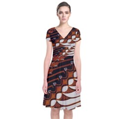 Traditional Batik Sarong Short Sleeve Front Wrap Dress