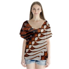 Traditional Batik Sarong Flutter Sleeve Top