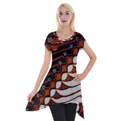 Traditional Batik Sarong Short Sleeve Side Drop Tunic