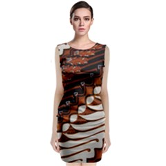 Traditional Batik Sarong Sleeveless Velvet Midi Dress