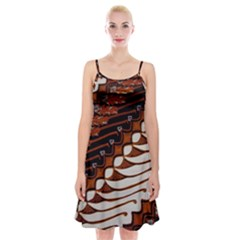 Traditional Batik Sarong Spaghetti Strap Velvet Dress