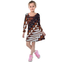 Traditional Batik Sarong Kids  Long Sleeve Velvet Dress