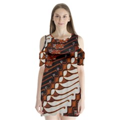Traditional Batik Sarong Shoulder Cutout Velvet  One Piece
