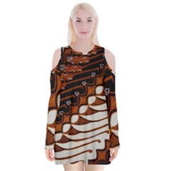 Traditional Batik Sarong Velvet Long Sleeve Shoulder Cutout Dress