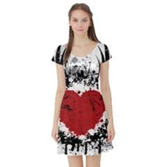 Wings Of Heart Illustration Short Sleeve Skater Dress