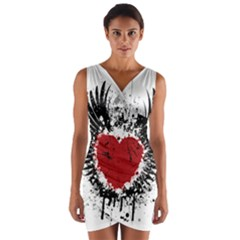 Wings Of Heart Illustration Wrap Front Bodycon Dress