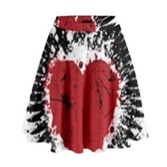 Wings Of Heart Illustration High Waist Skirt