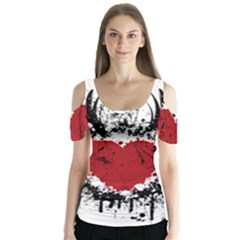 Wings Of Heart Illustration Butterfly Sleeve Cutout Tee