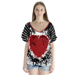 Wings Of Heart Illustration Flutter Sleeve Top
