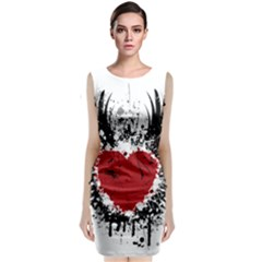 Wings Of Heart Illustration Sleeveless Velvet Midi Dress