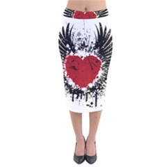 Wings Of Heart Illustration Velvet Midi Pencil Skirt