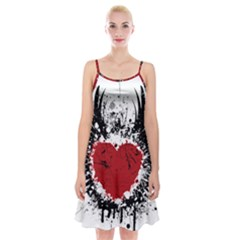 Wings Of Heart Illustration Spaghetti Strap Velvet Dress