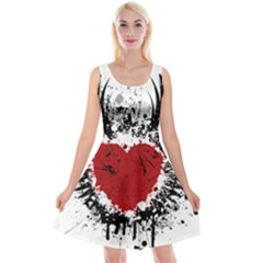 Wings Of Heart Illustration Reversible Velvet Sleeveless Dress