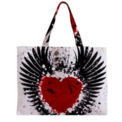 Wings Of Heart Illustration Medium Zipper Tote Bag