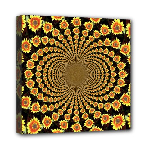Psychedelic Sunflower Mini Canvas 8  x 8