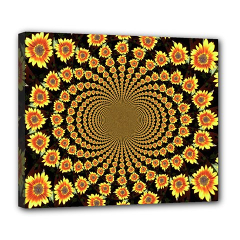 Psychedelic Sunflower Deluxe Canvas 24  x 20