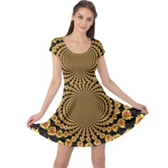 Psychedelic Sunflower Cap Sleeve Dresses