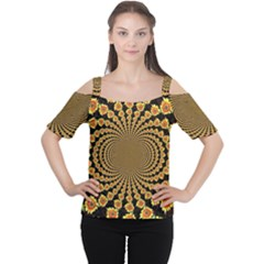 Psychedelic Sunflower Women s Cutout Shoulder Tee
