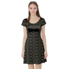 Dark Interlace Tribal  Short Sleeve Skater Dress