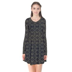 Dark Interlace Tribal  Flare Dress