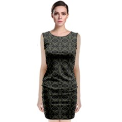 Dark Interlace Tribal  Sleeveless Velvet Midi Dress