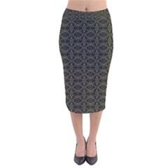 Dark Interlace Tribal  Velvet Midi Pencil Skirt