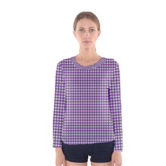 Mardi Gras Purple Plaid Women s Long Sleeve Tee