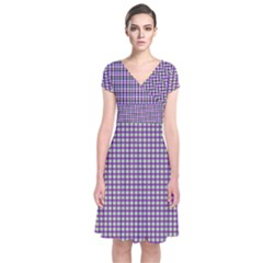 Mardi Gras Purple Plaid Short Sleeve Front Wrap Dress