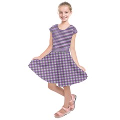 Mardi Gras Purple Plaid Kids  Short Sleeve Dress