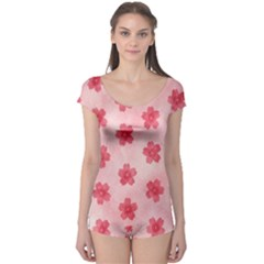 Watercolor Flower Patterns Boyleg Leotard