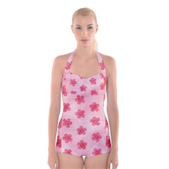 Watercolor Flower Patterns Boyleg Halter Swimsuit