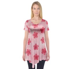 Watercolor Flower Patterns Short Sleeve Tunic