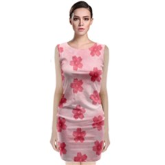 Watercolor Flower Patterns Classic Sleeveless Midi Dress
