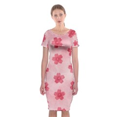 Watercolor Flower Patterns Classic Short Sleeve Midi Dress