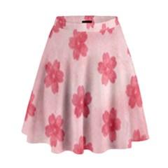 Watercolor Flower Patterns High Waist Skirt